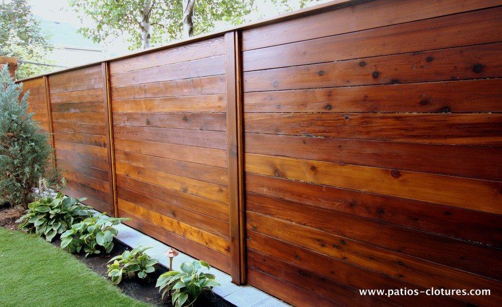Clôture horizontale en bois de cèdre Émond 2