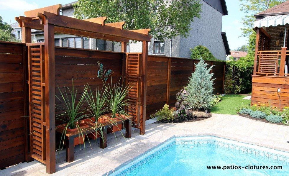 Pergola de clôture horizontale en bois de cèdre Émond 2
