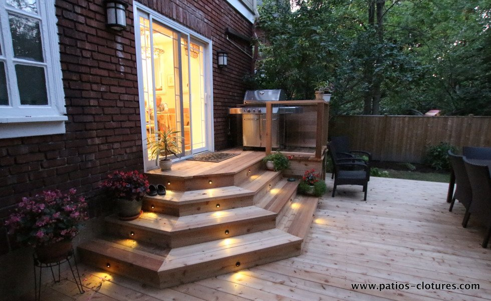 lumières LED dans escalier de patio patio Johnskareng