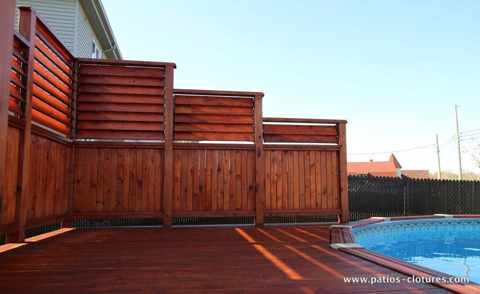 Écran d'intimité pour deck de piscine hors terre en cèdre Isabelle