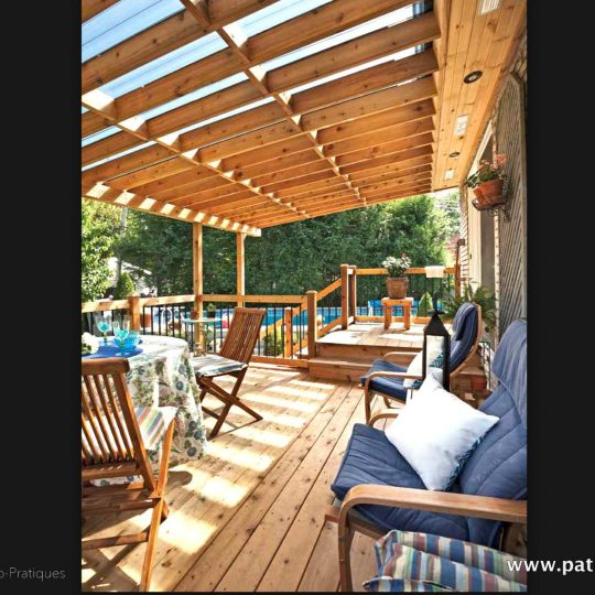 Inside the deck with polycarbonate roof